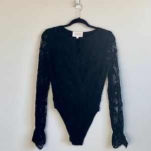 Stone Cold Fox Black Lace Bodysuit Size 3 EUC